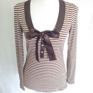 Charlotte Russe Brown Striped Long Sleeve Top